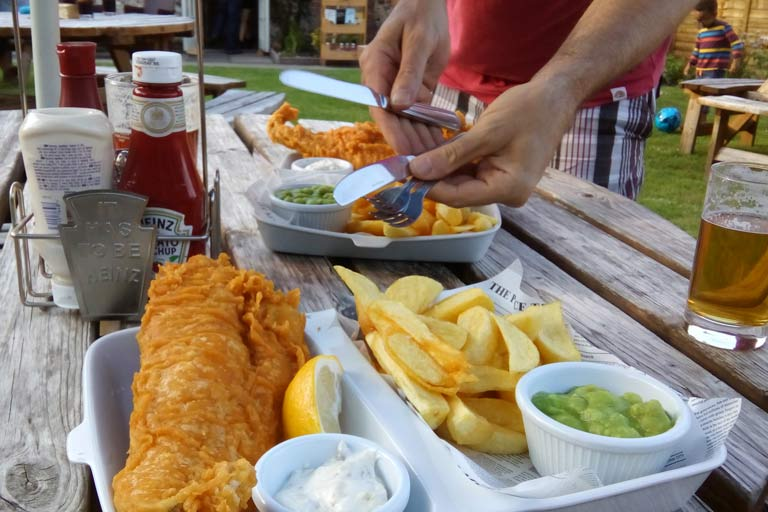 Fish and chips at The White Lion - delicious!