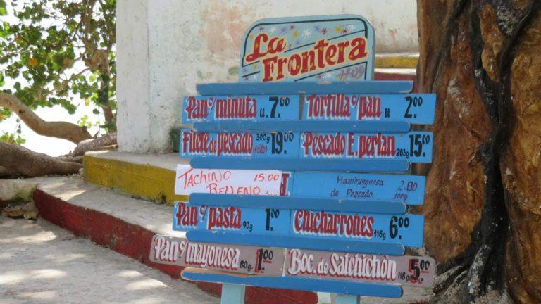 Food at the locals beach at Caibarien Cuba