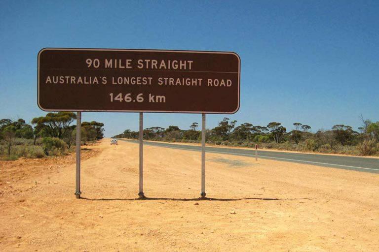 The longest straight road in Australia
