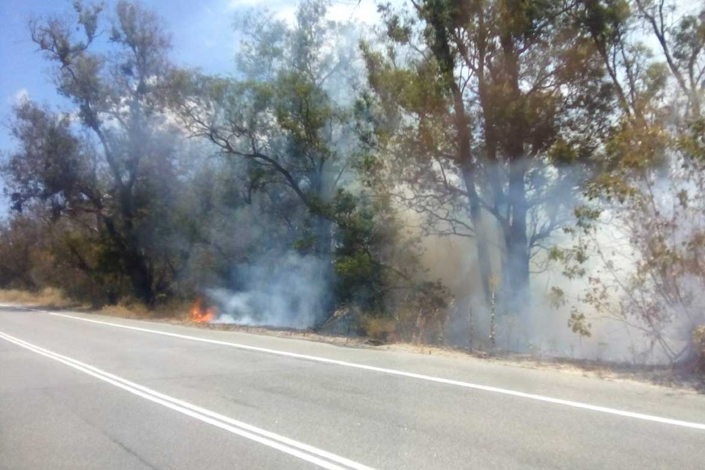 Roadside fire in Perth