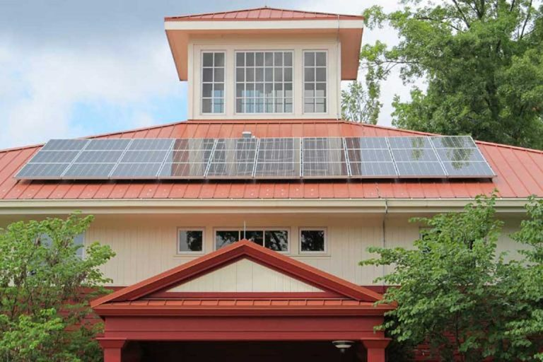 House sitting with solar panels