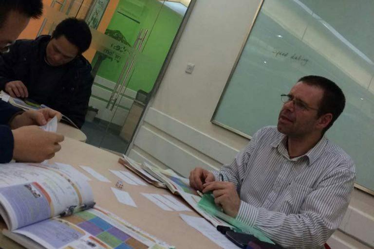 Ian teaching English in China